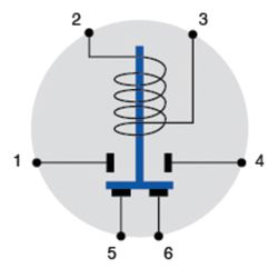 Diagram of Cole Hersee Continuous Duty DPST Double-Acting Solenoid - 12V, 35/85A