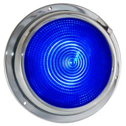 """Dr LED 5-1/2"""" Chromed Mars LED General Purpose Dome Light - Blue / White"""