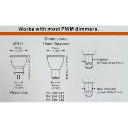 dimensions of Dr LED Magnum LED Double Contact Bayonet Bulb - Non-Indexed