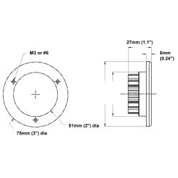 "Dimensions of Dr LED 3"" Saturn Ring Recessed Mount LED Light - Spot Version"