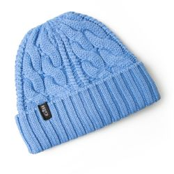 Blue View of Gill Cable Knitted Beanie