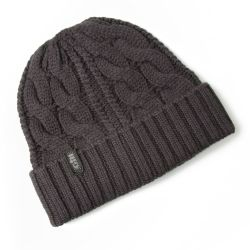Graphite View of Gill Cable Knitted Beanie