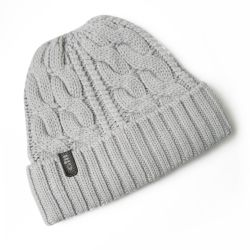 Medium Grey View of Gill Cable Knitted Beanie