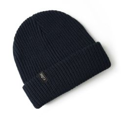Navy View of Gill Floating Knit Beanie