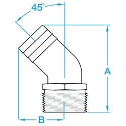 Dimensions of Groco 45 Degree Bronze Pipe to Hose Adapters