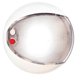 "Hella 5"" Red / White Surface Mnt EuroLED 130 Touch Dome Light - White Shroud"