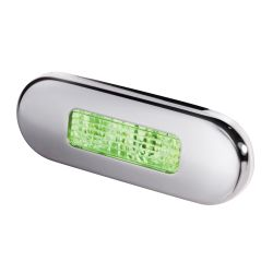 Hella LED 9680 Series Oblong Step Lamp - Green Lamp, Stainless Trim