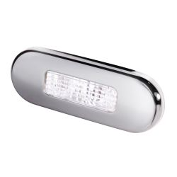 Hella LED 9680 Series Oblong Step Lamp - White Lamp, Stainless Trim