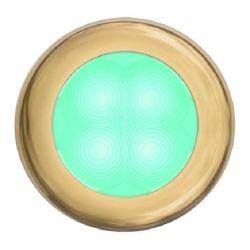 "Slim Line LED Round 3"" Lamps - Cyan Light, Gold Trim"