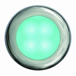 """Slim Line LED Round 3"""" Lamps - Cyan Light, Stainless Trim"""