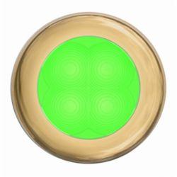 "Slim Line LED Round 3"" Lamps - Green Light, Gold Trim"