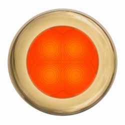 "Slim Line LED Round 3"" Lamps - Orange Light, Gold Trim"
