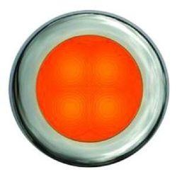 "Slim Line LED Round 3"" Lamps - Orange Light, Stainless Trim"