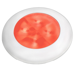 "Slim Line LED Round 3"" Lamps - Red Light, White Trim"