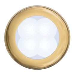 "Slim Line LED Round 3"" Lamps - White Light, Gold Trim"