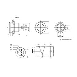 Dimensions of Hella Stainless Steel Push-Button Switch - Blue LED Indicator