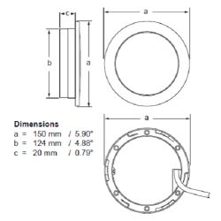Diagram of Hella Warm White Recessed EuroLED Touch Light