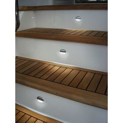 White LED Easy Fit Step Lamp - Stainless Steel Cap In Use