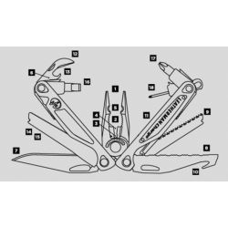 Diagram of Leatherman Charge ALX Multi-Tool - Stainless Steel