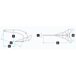 Dimensions of Lewmar DTX Anchor - 316 Stainless Steel