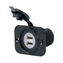 Front of Marinco SeaLink Deluxe Dual USB Charger Receptacle 12-24V