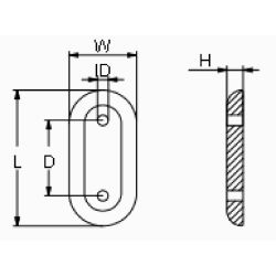 "diagram of Martyr MZC406 Rounded Oval 9"" Plate Anode - Aluminum"