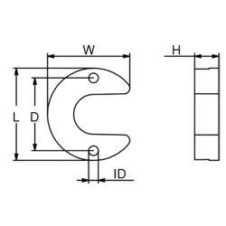 Dimensions of Martyr CM-806190 Mercruiser I/O Bravo Lift Ram Horseshoe Anode - Zinc