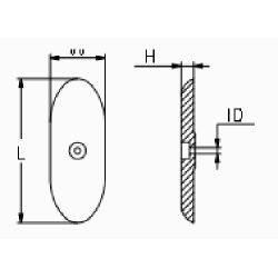 diagram of Martyr Pointed Oval Bolt-On Hull Anode - Aluminum