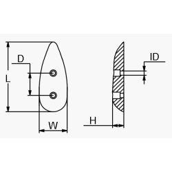 "diagram of Martyr T21 Medium 5"" Teardrop Anode - Aluminum"