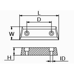 diagram of Martyr Volvo Penta Duo Prop 290 Series Bar Anode - Zinc