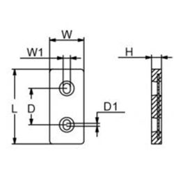 "diagram of Martyr ZHC2 Taiwan Style 5-3/4"" Plate Anode - Aluminum"
