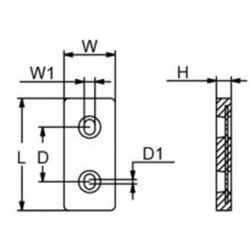 "diagram of Martyr ZHC3 Taiwan Style 6.25"" Plate Anode - Aluminum"