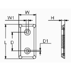 "diagram of Martyr ZHC5 Taiwan Style 8"" Plate Anode - Aluminum"