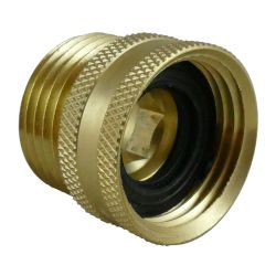angle view of Midland Metals Garden Hose Swivel - Male x Female