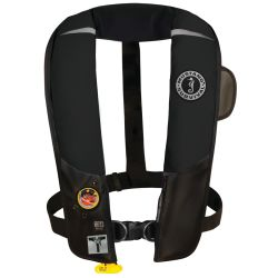 Front View Black of Mustang Survival HIT Automatic Inflatable PFD with Sailing Harness