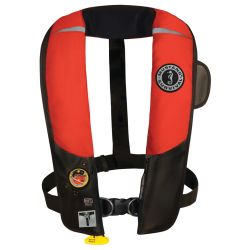 Front View Red of Mustang Survival HIT Automatic Inflatable PFD with Sailing Harness