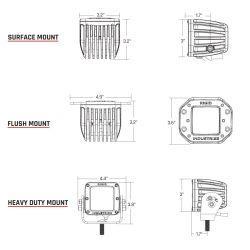 Diagram of Rigid Industries Marine D2 LED Light