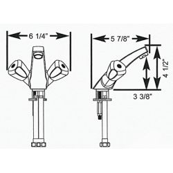 Dimensions of Scandvik Classic Sink Mixer - Forward Sloping