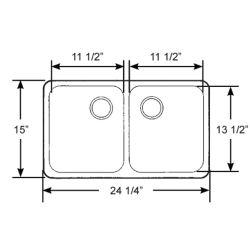 "Rectangular Symmetric SS Double Sink - 25"" Wide, Mirror Finish, Model 10239"
