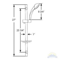 Dimension Diagram of Scandvik Mariner Curved Adjustable Shower Rail Kit with Soap Dish