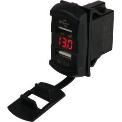 Double Usb Rocker Switch Style Voltmeter
