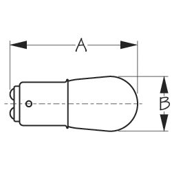 Dimensions of Sea-Dog Line No. 1034 Double Contact Bayonet Indexed Base Bulb - Dual Filament, 12V, 23W