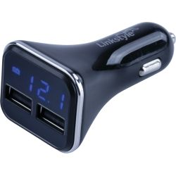 Dual USB Power Plug with Voltage/Amp Meter