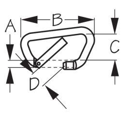 High Strength Asymmetric Carabiner - Toothless, Key-Lock System