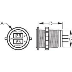 Dimensions of Sea-Dog Line Round Digital Voltage & Amp Meter