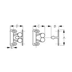 Dimensions of Sea-Dog Line Twin Roller Door Catch