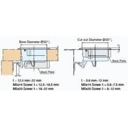 Diagram of Sugatsune Flush Slam Latch