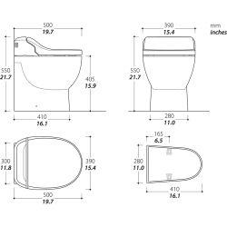 Dimensions of Thetford Thetford Tecma E-Breeze Toilet & Bidet