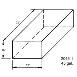 Dimensions of Trionic Corp 45 Gallon Long Rectangular Water or Holding Tank