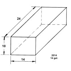 Dimensions of Trionic Corp 14 Gallon Long Rectangular Water or Holding Tank